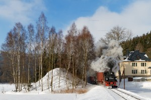 Winterdampf auf der Preßnitztalbahn mit 99 1590-1 // Winter steam at the Pressnitztal Railway with 99 1590-1