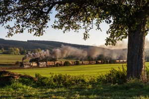 Dampf trifft Kies mit 44 2546-8 und 95 1027-2 und Holzgüterzug // Steam meets gravel with 44 2546-8 and 95 1027-2 and timber freight train