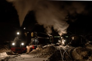 Winterdampf auf der Preßnitztalbahn mit 99 4511-4 in Jöhstadt // Winter steam at the Pressnitztal Railway with 99 4511-4 in Joehstadt
